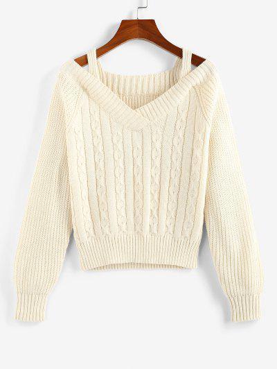 ZAFUL Cable Knit Raglan Sleeve Cutout Jumper Sweater - Apricot L