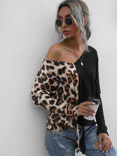 Leopard Panel Honeycomb Knit Batwing Sleeve Top - Black M