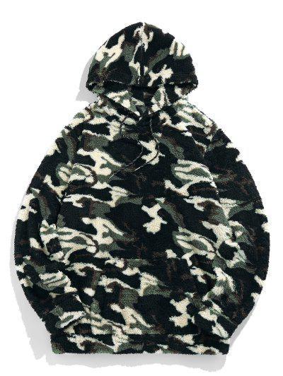 ZAFUL Camouflage Sherpa Vlies Hoodie - Wald Tarnanstrich M