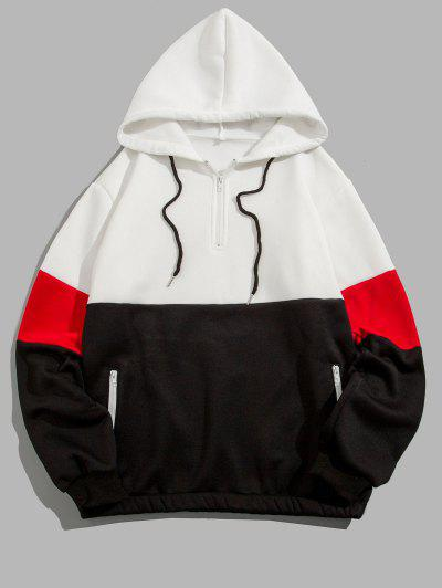 Quarter Zip Contrast Fleece Hoodie - White Xl