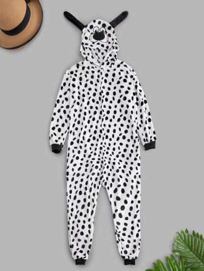 Dalmatian Dog Plush Button Through Costume Pajama Onesie - White M