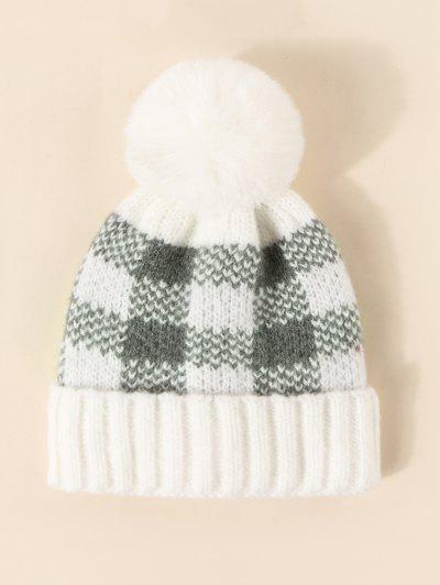 Plaid Pattern Bubble Knitted Hat - Milk White