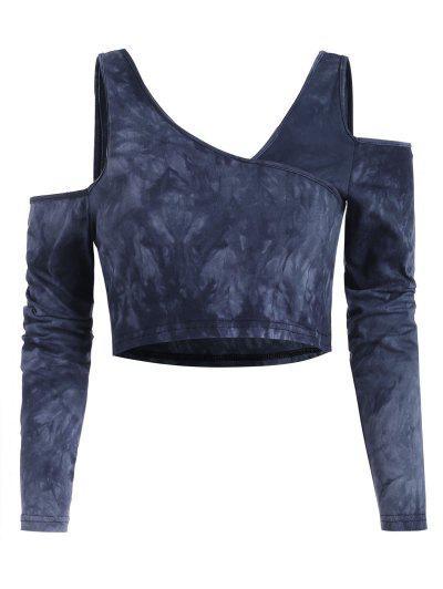 Tie Dye Cold Shoulder Crop Baby Tee - Blue M