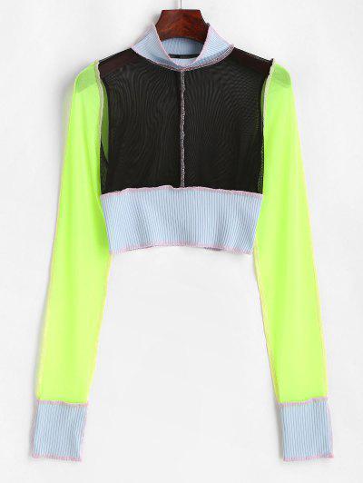 Mesh Ribbed Topstitching Colorblock Crop T Shirt - Black M