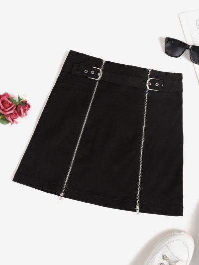 Buckle Front Double Zip Mini Skirt - Black S