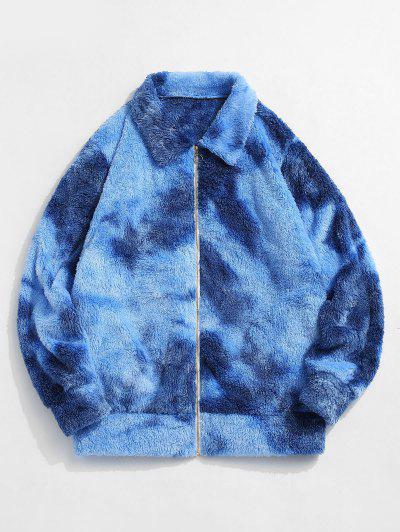 ZAFUL Flauschige Krawattenfärbender Jacke - Blau Xl