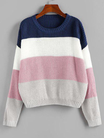 ZAFUL Color Blocking Drop Shoulder Jumper Sweater - Multi M