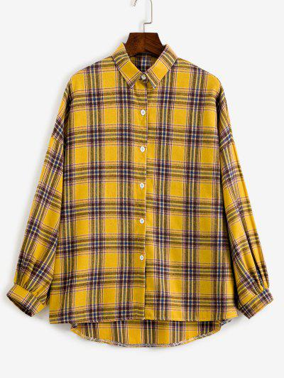 Drop Shoulder Plaid High Low Shacket - Yellow