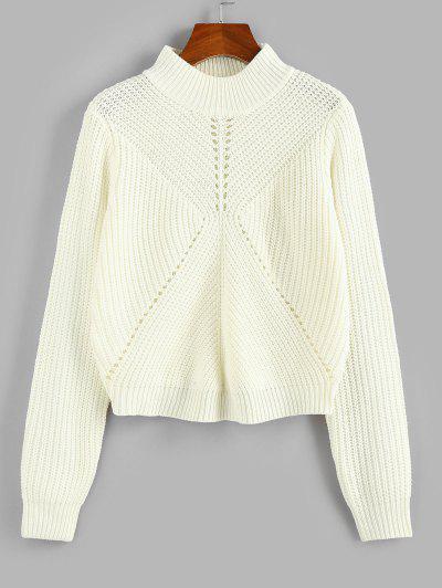 Pointelle Knit Mock Neck Sweater - White L
