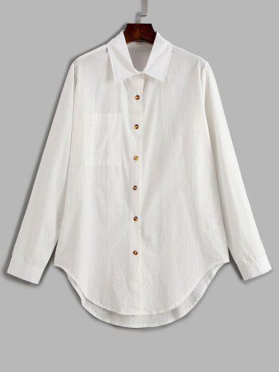 Pocket Curved Hem Longline Shirt - White Xl