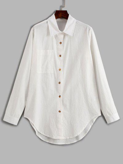 Pocket Curved Hem Longline Shirt - White L