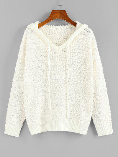 ZAFUL Boucle Knit Hooded Sweater - White L