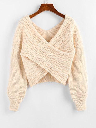 ZAFUL Drop Shoulder Crossover Cropped Sweater - Light Coffee S