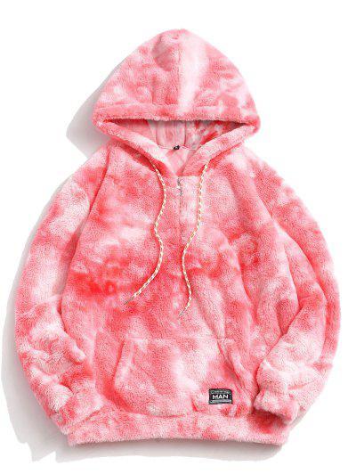Half Zip Tie Dye Faux Fur Fluffy Hoodie - Light Pink M