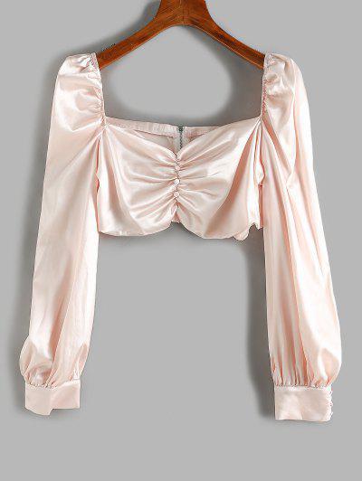Plus Size Satin Mock Button Ruched Crop Blouse - Light Pink 4xl