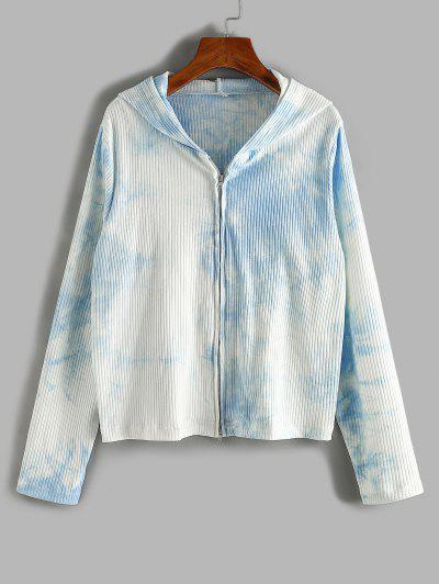 ZAFUL Plus Size Ribbed Tie Dye Hooded Double Way Zip Cardigan - Light Blue 5xl