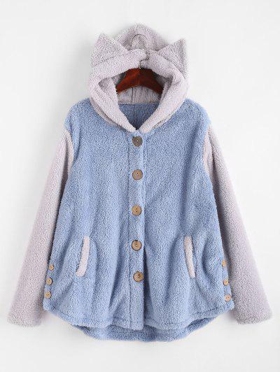 Fluffy Two Tone Animal Blanket Hoodie Coat - Gray Xl