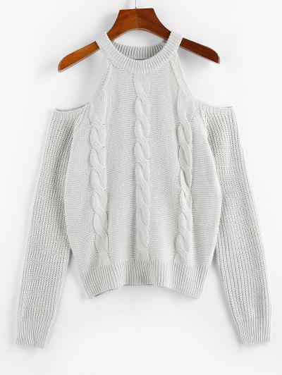ZAFUL Cable Knit Cold Shoulder Jumper Sweater - Light Gray M