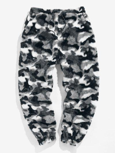 ZAFUL Leopard Pattern Faux Fur Fluffy Pants - Snow Camouflage L