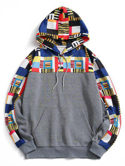 Geometrischer Muster Vorder Tasche Vlies Hoodie - Grau 2xl