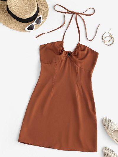 Halter Solid Silky Mini Dress - Coffee S