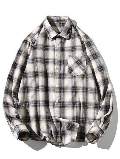 Turn-down Collar Button Up Plaid Shirt - Milk White M