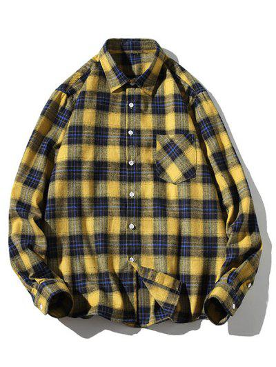Turn-down Collar Button Up Plaid Shirt - Yellow L