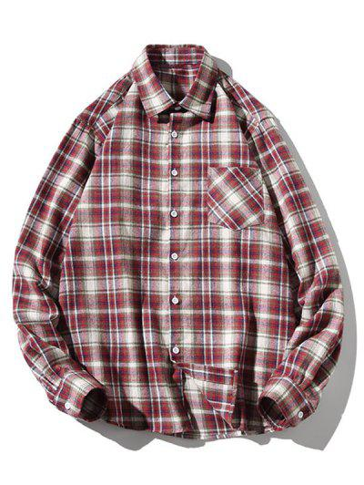 Turn-down Collar Button Up Plaid Shirt - Red Wine L