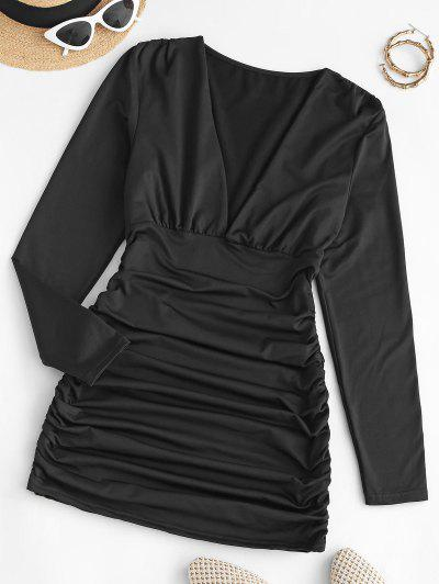 Gathered Side Fleece Lined Slinky Dress - Black S