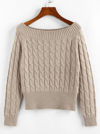 ZAFUL Solid Twist Boat Neck Sweater - Light Coffee M