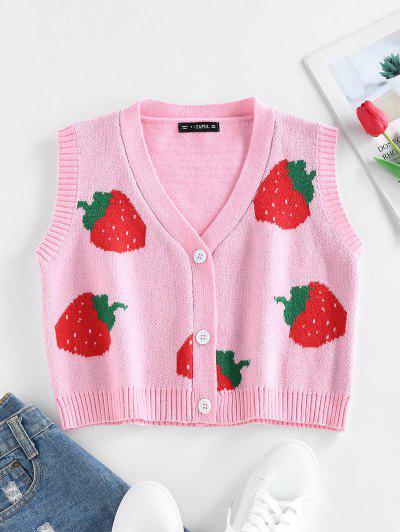 ZAFUL Strawberry Pattern Button Cardigan Vest - Light Pink M
