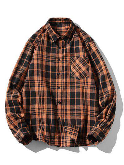 Plaid Zigzag Pattern Turndown Collar Shirt - Coffee S