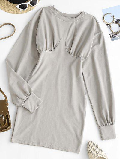 Long Sleeve Ruched Slinky Sweatshirt Dress - Gray L