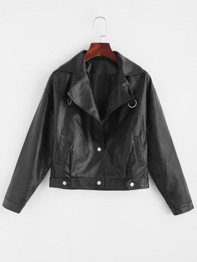 Faux Leather Snap Button Pockets Biker Jacket - Black M