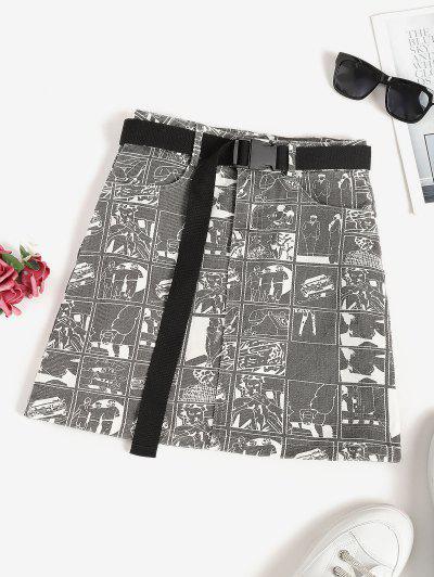 Push-buckled Belt Car Figure Print Mini Skirt - Dark Gray L