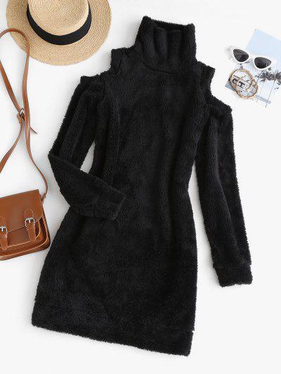 Cold Shoulder Slinky Fluffy Long Sleeve Dress - Black M