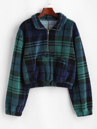 Plaid Half Zip Borg Teddy Sweatshirt - Deep Green L
