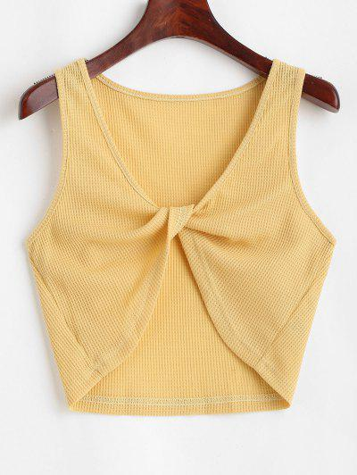 Knitted Twisted Plunging Crop Tank Top - Yellow M