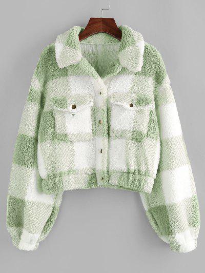 ZAFUL Plaid Drop Shoulder Pocket Teddy Coat - Light Green M