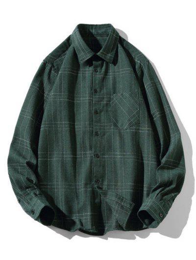 Stitching Design Plaid Shirt - Green L