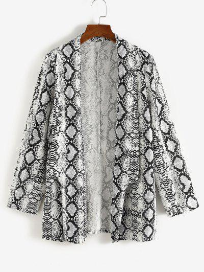 Plus Size Snakeskin Padded Shoulder Open Front Blazer - White 2xl