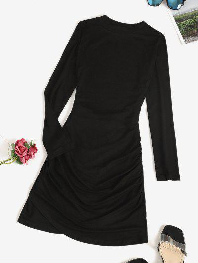 Long Sleeve Ruched Draped Mini Dress - Black M