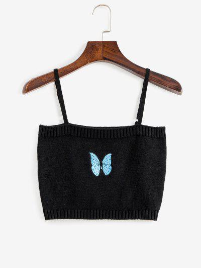 Knitted Butterfly Embroidered Crop Camisole - Black M