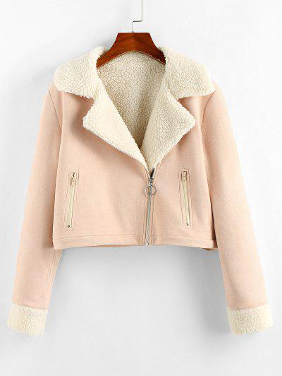 ZAFUL Faux Suede Borg Collar Zipper Jacket - Light Pink S