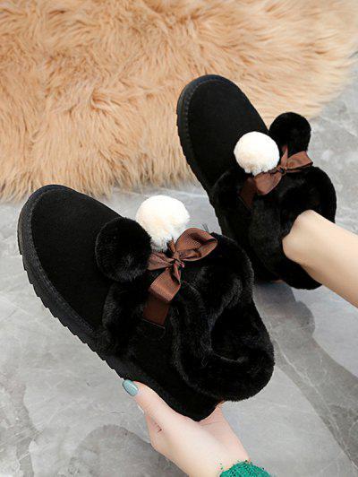 Bottes De Neige Pelucheuses Avec Pompon - Noir Eu 38