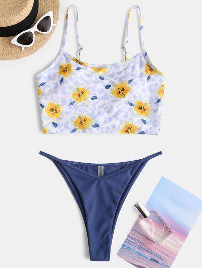Costume Da Bagno Bikini Floreale Con Stampa A Leopardo Di ZAFUL A Taglio Alto - Blu Xxl