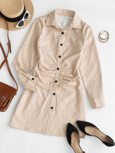 Long Sleeve Checked Ruched Front Shirt Dress - Light Coffee S