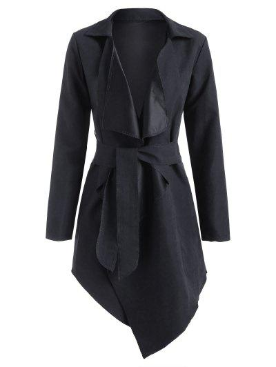 Asymmetrical Belted Wrap Trench Coat - Black S