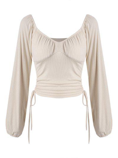 Ruched Cinched Side Ribbed Top - Burlywood S