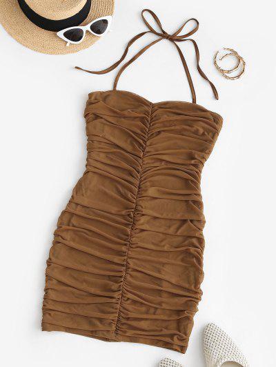 Gathered Mesh Halter Slinky Dress - Coffee S